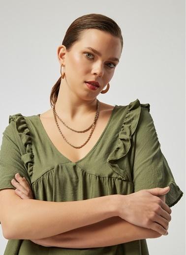 Monamoda A Form Robası Büzgülü Krinkıl Keten Relaxe Fit Elbise Haki